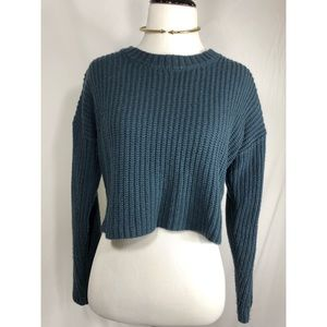 Trendy Blue Cropped Sweater